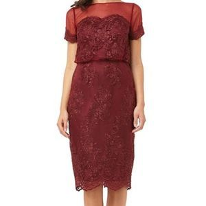 JS Collection Red Lace Blouson Cocktail Dress 14